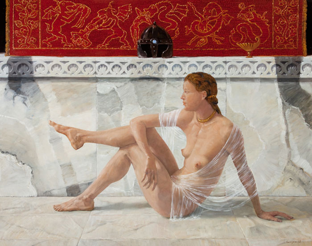 "© Denis Virlogeux, ""Clorinda"", oil on canvas, 2008, 115 x 145 cm. ""Clorinda"" has received the Bronze Medal from Association des Artistes Francais and the Jacques Couderc reward, at the exhibition ART en CAPITAL / Grand Palais 2009."